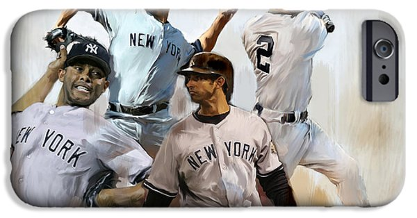 Works Drawings iPhone Cases - Core VII Derek Jeter Mariano Rivera  Andy Pettitte Jorge Posada iPhone Case by Iconic Images Art Gallery David Pucciarelli