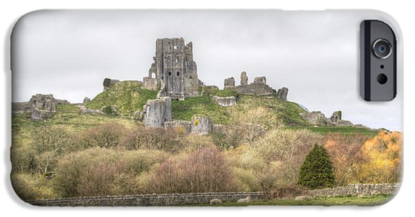 Christmas Greeting iPhone Cases - Corfe Castle iPhone Case by Chris Day
