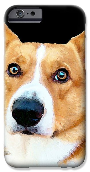 Little Dogs iPhone Cases - Corgi Art - Pensive  iPhone Case by Sharon Cummings