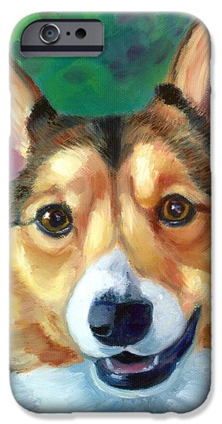 Puppies iPhone Cases - Corgi Smile iPhone Case by Lyn Cook