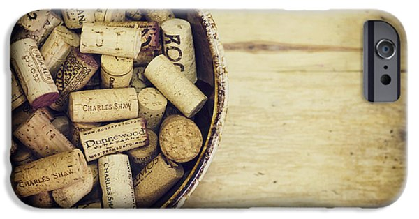 Vintage Wine Lovers Photographs iPhone Cases - Cork Collection iPhone Case by Heather Applegate