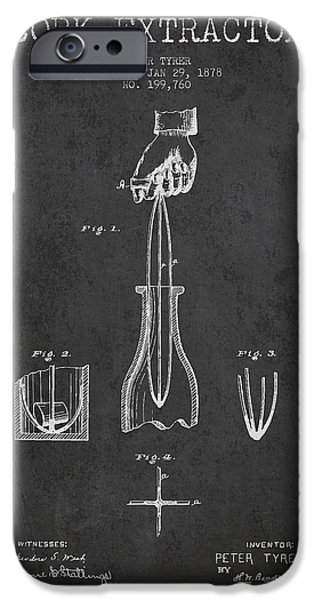 Wine Bottles iPhone Cases - Cork Extractor patent Drawing from 1878 - Dark iPhone Case by Aged Pixel