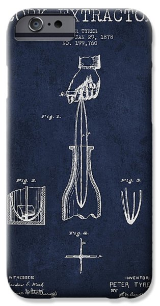 Wine Bottle iPhone Cases - Cork Extractor patent Drawing from 1878 -Navy Blue iPhone Case by Aged Pixel