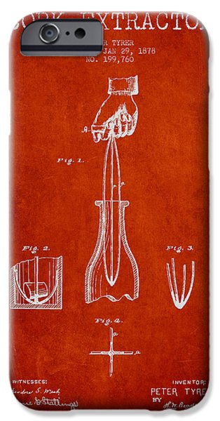 Wine Bottles iPhone Cases - Cork Extractor patent Drawing from 1878 - Red iPhone Case by Aged Pixel