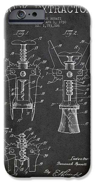 Wine Bottles iPhone Cases - Cork Extractor patent Drawing from 1930 - Dark iPhone Case by Aged Pixel