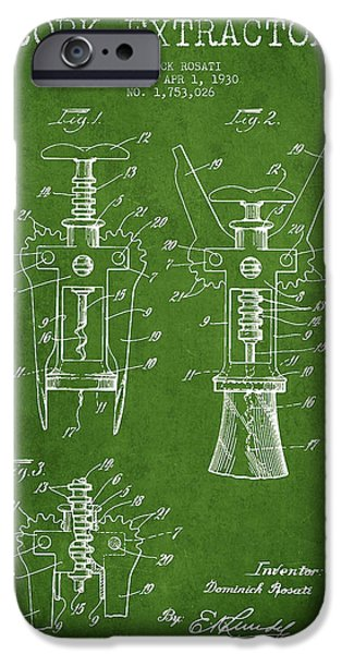 Wine Bottle iPhone Cases - Cork Extractor patent Drawing from 1930 - Green iPhone Case by Aged Pixel