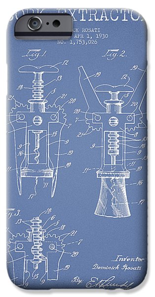 Wine Bottle iPhone Cases - Cork Extractor patent Drawing from 1930 - Light Blue iPhone Case by Aged Pixel