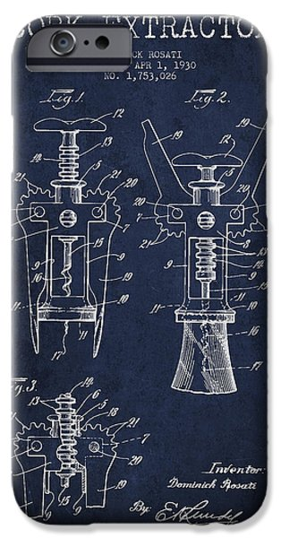 Wine Bottle iPhone Cases - Cork Extractor patent Drawing from 1930 - Navy Blue iPhone Case by Aged Pixel