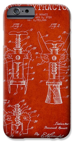 Wine Bottles iPhone Cases - Cork Extractor patent Drawing from 1930 - Red iPhone Case by Aged Pixel