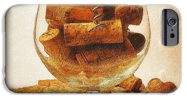 Winetasting iPhone Cases - Corks and elegant corkscrew iPhone Case by Stefano Senise