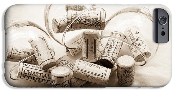 Table Wine iPhone Cases - Corks and Glasses toned iPhone Case by Nomad Art And  Design