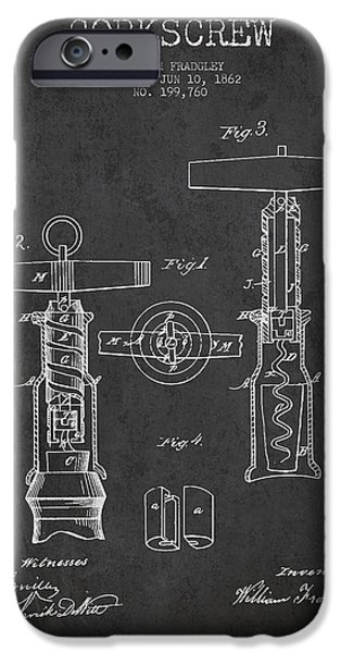 Wine Bottle iPhone Cases - Corkscrew patent Drawing from 1862 - Dark iPhone Case by Aged Pixel