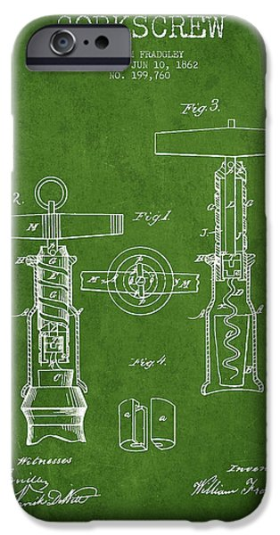 Wine Bottle iPhone Cases - Corkscrew patent Drawing from 1862 - Green iPhone Case by Aged Pixel
