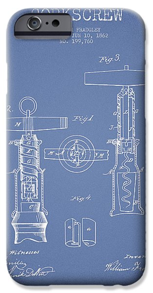 Wine Bottle iPhone Cases - Corkscrew patent Drawing from 1862 -Light Blue iPhone Case by Aged Pixel
