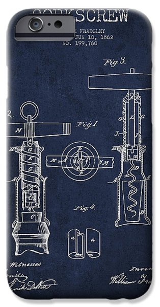 Wine Bottles iPhone Cases - Corkscrew patent Drawing from 1862 - Navy Blue iPhone Case by Aged Pixel