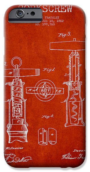 Wine Bottle iPhone Cases - Corkscrew patent Drawing from 1862 - Red iPhone Case by Aged Pixel
