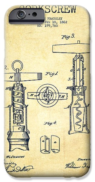 Wine Bottle iPhone Cases - Corkscrew patent Drawing from 1862 -Vintage iPhone Case by Aged Pixel