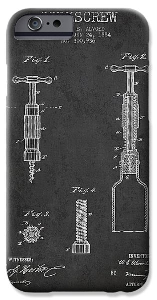 Corkscrew patent Drawing from 1884 iPhone Case by Aged Pixel