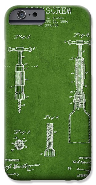 Wine Illustrations iPhone Cases - Corkscrew patent Drawing from 1884 - Green iPhone Case by Aged Pixel