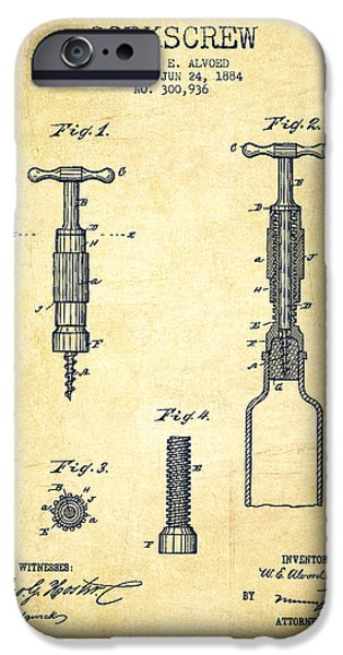 Wine Illustrations iPhone Cases - Corkscrew patent Drawing from 1884 - Vintage iPhone Case by Aged Pixel