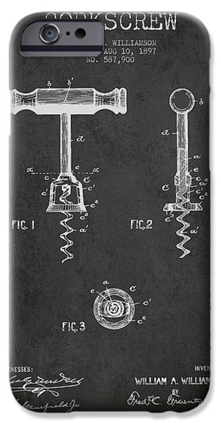 Wine Bottle iPhone Cases - Corkscrew patent Drawing from 1897 - Dark iPhone Case by Aged Pixel