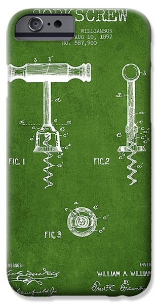 Wine Bottle iPhone Cases - Corkscrew patent Drawing from 1897 - Green iPhone Case by Aged Pixel