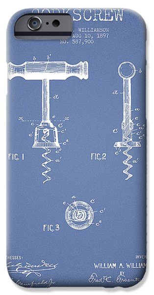 Wine Bottle iPhone Cases - Corkscrew patent Drawing from 1897 - Light Blue iPhone Case by Aged Pixel