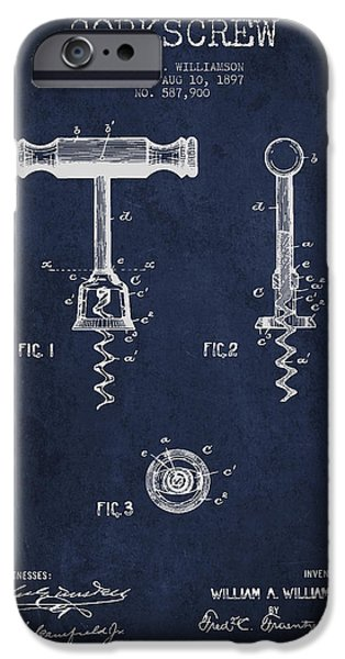 Wine Bottle iPhone Cases - Corkscrew patent Drawing from 1897 - navy Blue iPhone Case by Aged Pixel