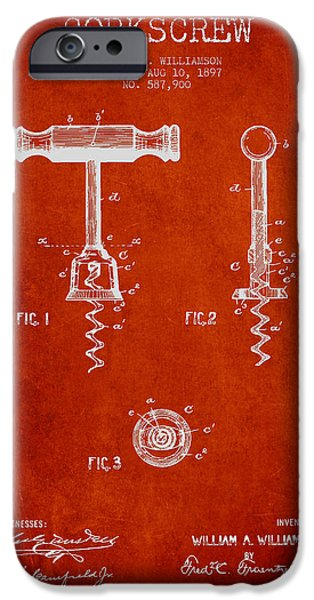 Wine Bottle iPhone Cases - Corkscrew patent Drawing from 1897 - Red iPhone Case by Aged Pixel