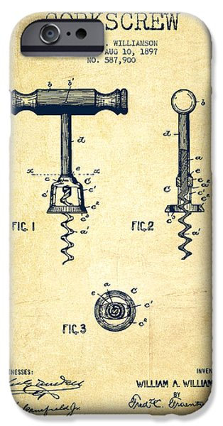 Wine Bottle iPhone Cases - Corkscrew patent Drawing from 1897 - Vintage iPhone Case by Aged Pixel