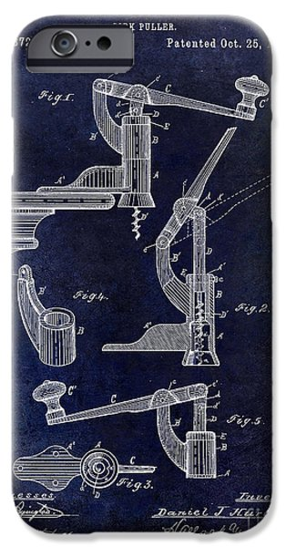 Wine Bottles iPhone Cases - 1887 Corkscrew Patent drawing iPhone Case by Jon Neidert