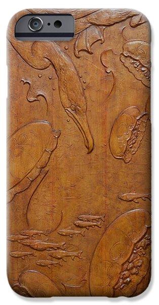 CORMORANT AND MOON JELLYFISH - YOKOJIKKENGAWA RIVER iPhone Case by Jeremiah Welsh