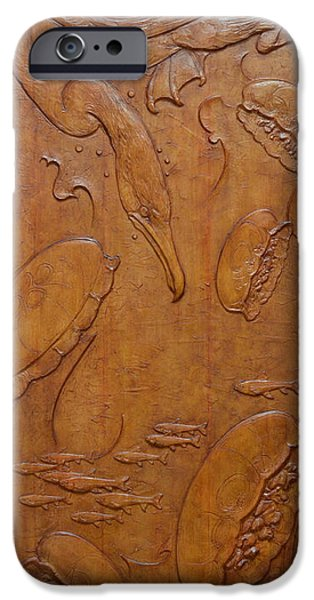 Relief Sculpture Reliefs iPhone Cases - Cormorant And Moon Jellyfish - Yokojikkengawa River iPhone Case by Jeremiah Welsh