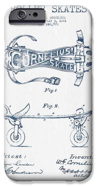Roller Skates iPhone Cases - Cornelius Roller Skate Patent Drawing from 1881  - Blue Ink iPhone Case by Aged Pixel