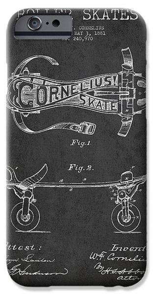 Roller Skates iPhone Cases - Cornelius Roller Skate Patent Drawing from 1881 - Dark iPhone Case by Aged Pixel