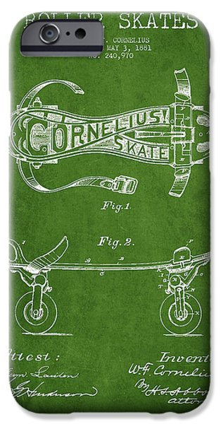 Roller Skates iPhone Cases - Cornelius Roller Skate Patent Drawing from 1881 - Green iPhone Case by Aged Pixel