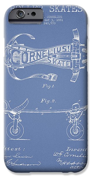 Roller Skates iPhone Cases - Cornelius Roller Skate Patent Drawing from 1881 - Light Blue iPhone Case by Aged Pixel