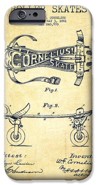 Roller Skates iPhone Cases - Cornelius Roller Skate Patent Drawing from 1881 - Vintage iPhone Case by Aged Pixel