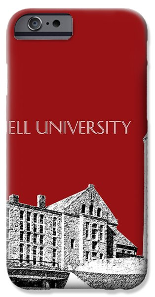 Pen And Ink Digital Art iPhone Cases - Cornell University - Dark Red iPhone Case by DB Artist