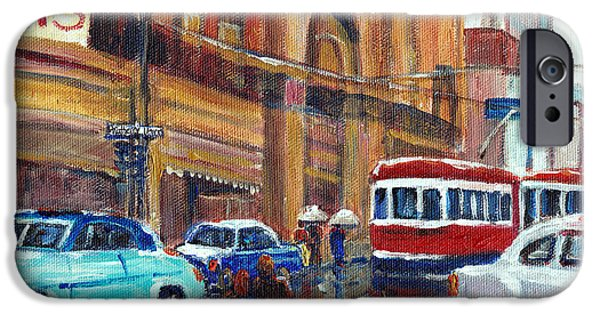 Montreal Memories. iPhone Cases - Corner St.catherine And Union Streets-fifties Montreal-vintage Street Scene iPhone Case by Carole Spandau