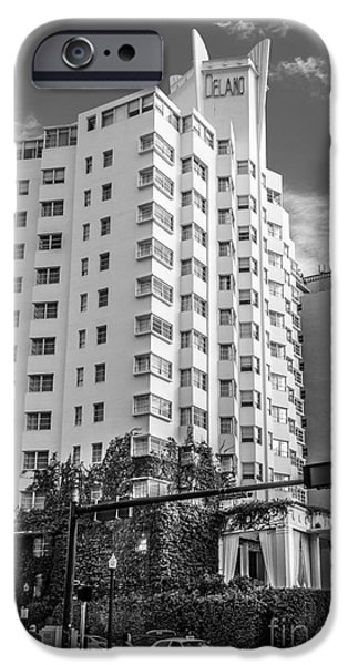 Ian Monk Photography iPhone Cases - Corner view of Delano Hotel and National Hotel - South Beach - Miami - Florida - Black and White iPhone Case by Ian Monk