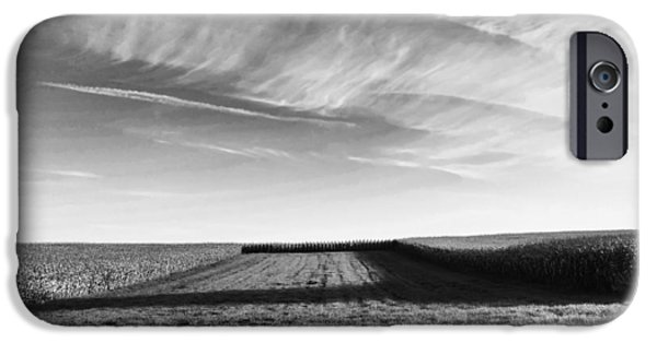 Crops iPhone Cases - Cornfield Shadow iPhone Case by Wim Lanclus
