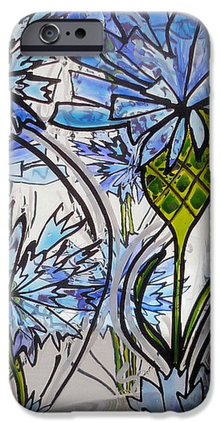Florals Glass Art iPhone Cases - Cornflower iPhone Case by Sharon Cox