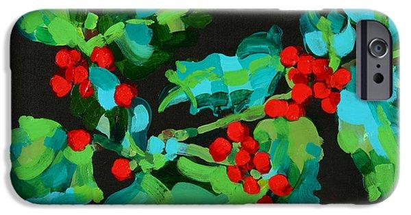 Berry iPhone Cases - Cornish Christmas Acrylic On Paper iPhone Case by Deborah Barton