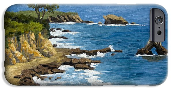 Beach Landscape Paintings iPhone Cases - Corona del Mar California iPhone Case by Alice Leggett