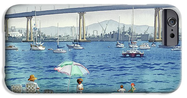 California Beach iPhone Cases - Coronado Beach and Navy Ships iPhone Case by Mary Helmreich