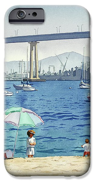 Coronado Beach and Navy Ships iPhone Case by Mary Helmreich