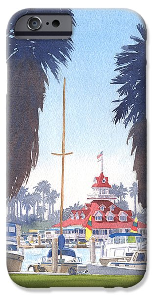 Boathouses iPhone Cases - Coronado Boathouse and Palms iPhone Case by Mary Helmreich