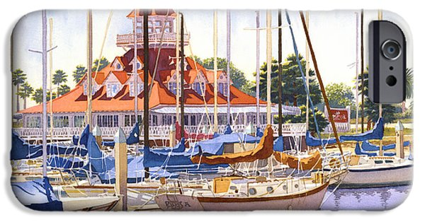 Yachts iPhone Cases - Coronado Boathouse iPhone Case by Mary Helmreich