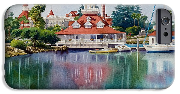 Boat iPhone Cases - Coronado Boathouse Reflected iPhone Case by Mary Helmreich